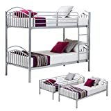 UEnjoy Bunk Beds Frame Single Bed Silver 3FT for Children and Adult
