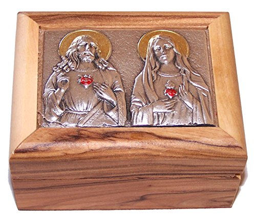 Holy Land Market First Communion Box - Rosary Box - Bethlehem Olive Wood (Metal - Two Hearts)