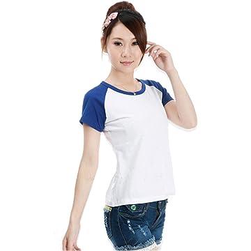lantusi Women Casual T-Shirt Raglan Sleeve O-Neck Color Stitching Basic Top Knits & Tees