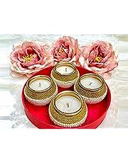 STORE INDYA Diwali Diyas for Outdoor Lights | Fancy Beaded Handmade Matki Diya in Tray with Tealight Holder and Greeting Card | Diwali Decorations and Gift Items | Set of 4 Matki Diya