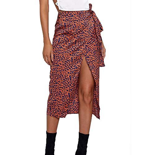 - Women Sexy Skirts Pleated Flora Elastic Print High Waist Irregular Pencil Mini Skirt (M, Red)