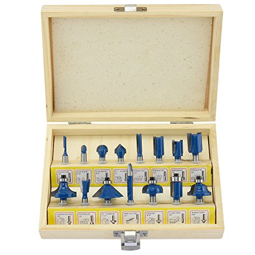 Hiltex 10100 Tungsten Carbide Router Bits | 15-Piece Set (Woodworking Power Tools Router)