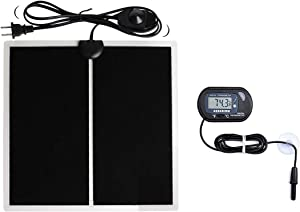 MQ 5-20W Reptile Terrarium Heat Pad with LCD Digital Thermometer, Power Adjustment Under Tank Heater Mat for Pets, Small Animals, Seedling