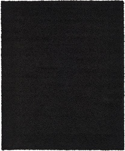Unique Loom Solid Shag Collection Jet Black 8 x 10 Area Rug (8' x 10')