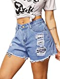 Haola Womens Distressed Denim Shorts High Waisted Ripped Casual Shorts LightBlue S