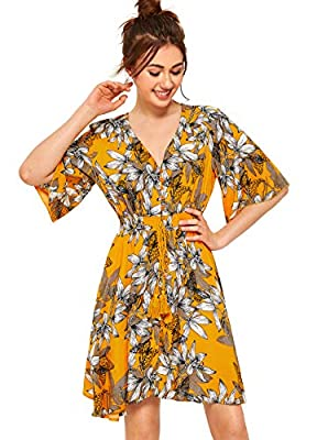 Milumia Women's Boho Button Up Split Floral Print Flowy Party Dress