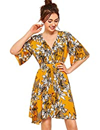 Women's Boho Button Up Split Floral Print Flowy Party Dress