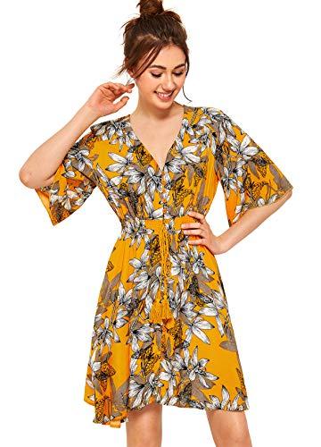 Yellow Multi Print - Milumia Women's Boho Button Up Split Floral Print Flowy Party Dress (XX-Large, Multi-Yellow)