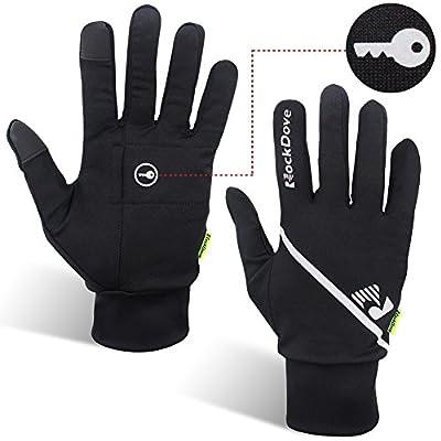 RockDove Running Gloves w/ Concealed Key Pocket, Thermal Lite Smartphone Touchscreen Run Liner Gloves for Jogging & Exercise - Unisex Sizes for Men & Women