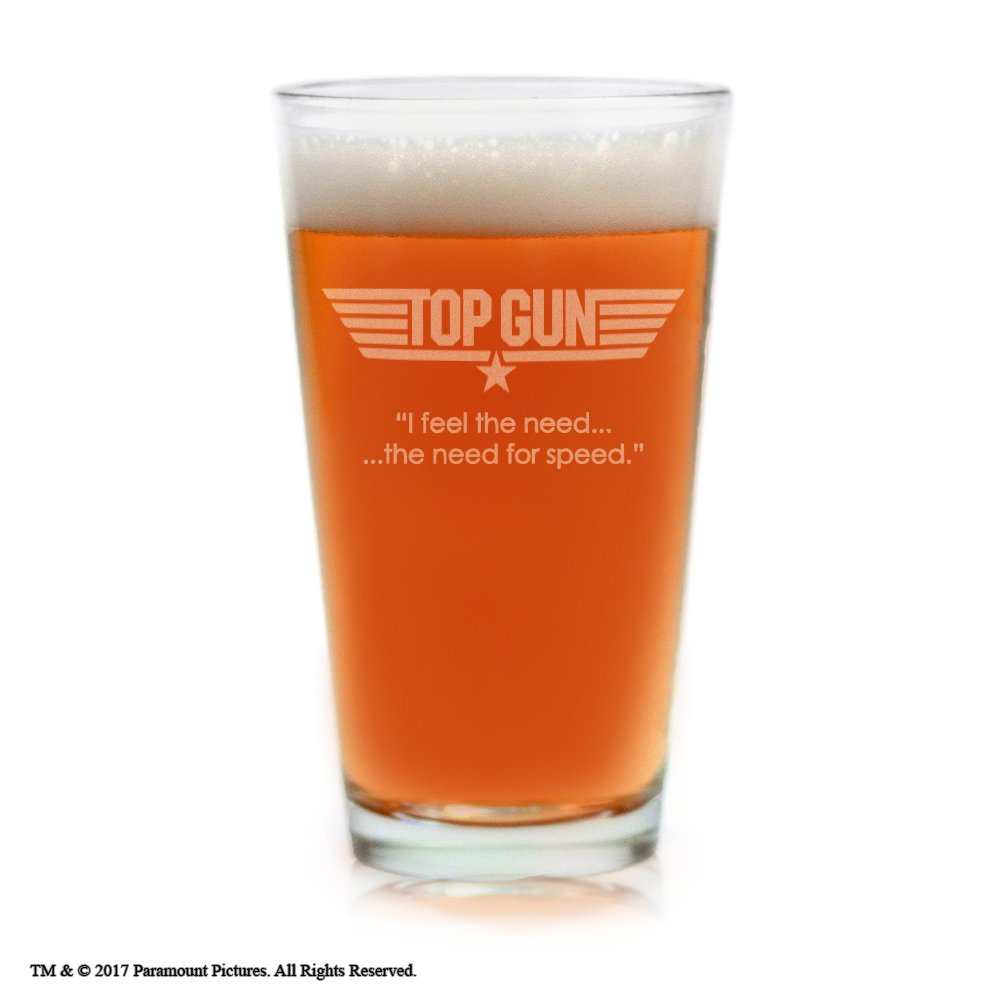 Movies On Glass - Top Gun Movie Engraved Logo With Quote,''I feel the need.the need for speed.'' Pint Beer Glass