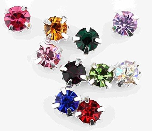 CraftbuddyUS 100 X 4.3mm Ss18 SEW on Mixed Silver Set Glass Crystal Diamante Rhinestone Craft