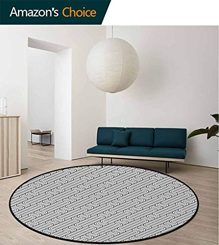 Abstract Modern Machine Washable Round Bath Mat,Monochrome Classic Curved Line Bands with Diagonal Swirls Optic Effects Graphic Non-Slip Soft Floor Mat Home Decor Diameter-47 Inch,Black White