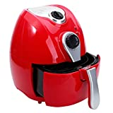 Mefeir Healthy Electric Air Fryer 4.4Quart 1500W Quick Cooking/Power Saving/Easy Cleaning, Automatic Air Frying Machine with Metal Holder and Cooking Tongs (Red) Review