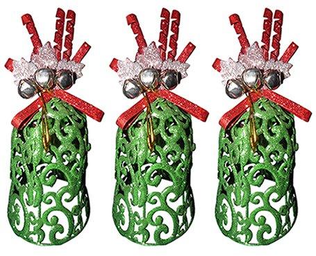 Kit Mini Sino de Natal Decoracao Natalino com 3 Unid Verde