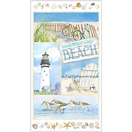 Henry Glass Fabrics Coastal Paradise Beach Lighthouse 24 Inch Panel
