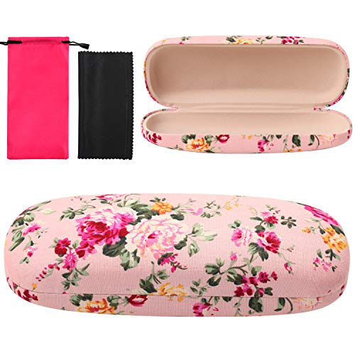 URATOT Portable Glasses Case Floral Covered Hard Shell Eyeglasses Case Spectacles Case with Drawstring Bag Cleaning…