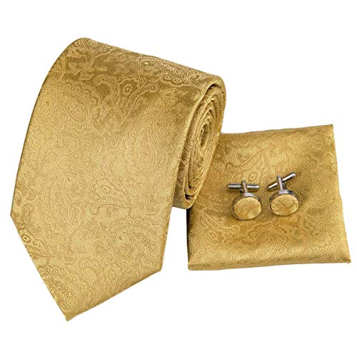 Hi-Tie Men Gold champagne Yellow Paisley Floral Tie Necktie with Cufflinks and Pocket Square Tie - Tie Paisley Gold Silk