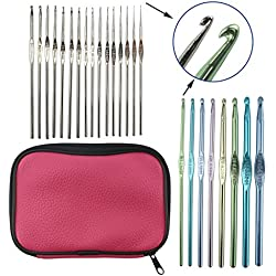 LAYOER Aluminum Steel Handle Crochet Hooks Knitting Needles Sets 24 pcs with Bag