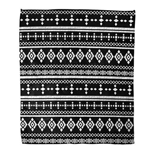 Emvency Decorative Throw Blanket 50 x 60 Inches Geo Ethnic Abstract Tribal Boho Border Folk Aztec Black Board Bohemian Carpet Chalk Warm Flannel Soft Blanket for Couch Sofa Bed ()