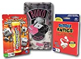Left Center Right, Quelf Antics Card Game, and Bunco Dice Party Bundle