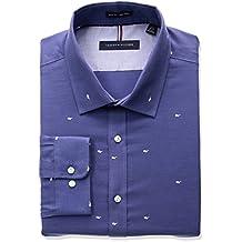 Tommy Hilfiger mens Non Iron Slim Fit Sunglass Print Spread Collar Dress Shirt