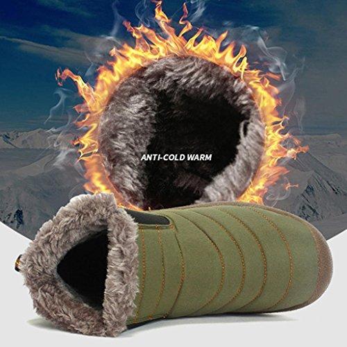 Tiean Heren Winter Snow Enkellaarzen Bont Gevoerde Casual Schoenen Outdoor Werkschoenen Groen