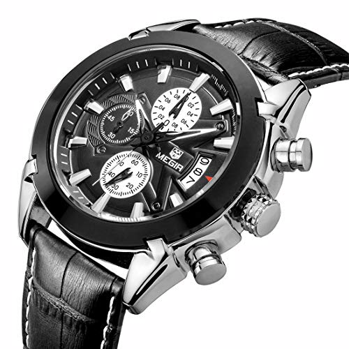 Military Sport Watches for Men Waterproof Classic Analog Two Tone Classy Watches with Leather Strap