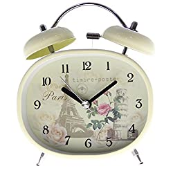 Classic Retro Oval Shaped Super Loud Twin Bell Alarm Clock with Backlight - 4 Tower/Rose in Beige