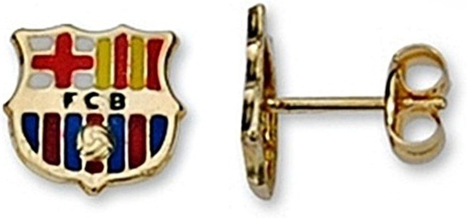 Pendientes escudo F.C. Barcelona oro de ley 18k esmaltados [6520] - Modelo: 10-048: Amazon.es: Joyería