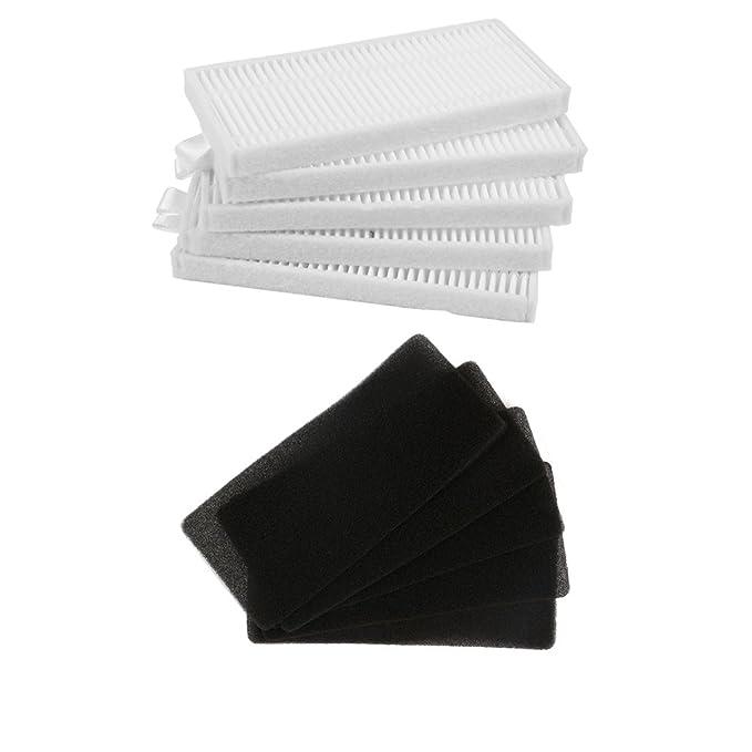 BLUELIRR 5 filtro HEPA + 5 unids filtro de esponja para CONGA EXCELLENCE Robot Aspirador Partes,Compatible con Conga Excellence 990 aspiradora ...