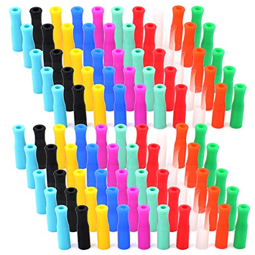 Souvenir Straw - Kingrol 100 Pcs Silicone Straw Tips, Food Grade Reusable Silicone Tip Cover for 6mm Stainless Steel Straw