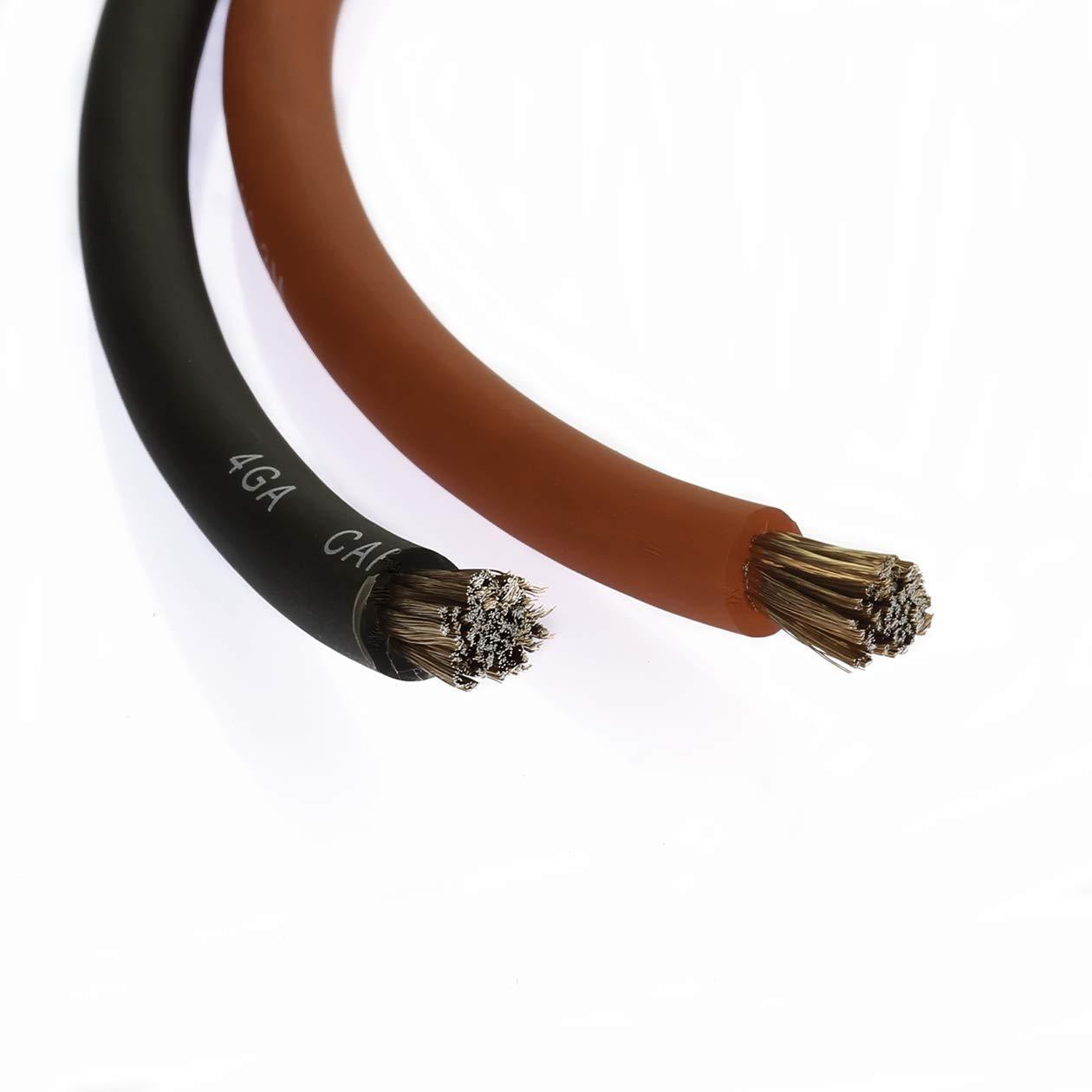 VOODOO 50 ft 25 Red /& 25 Black 4 AWG Gauge Power Ground Wire w//AGU Fuseholder /& 100 Amp Fuse