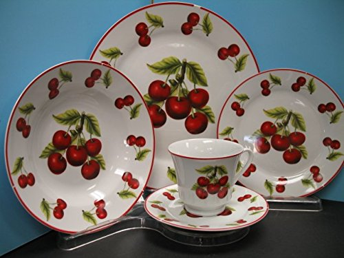 Price comparison product image Red Cherry Dinnerware dinner set 20 Pcs plates dishes cherries Kitchen decor home.