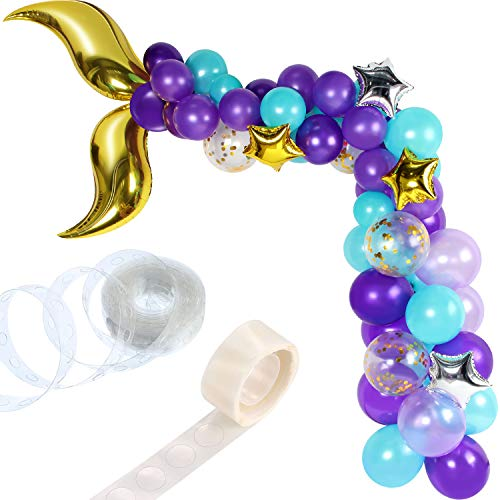 Hsei 88 Pieces Mermaid Tail Balloon Garland Set Mermaid Balloons Arch with 16ft Balloon Strip Tape for Under The Sea Mermaid Birthday Party Decoration (Gold)