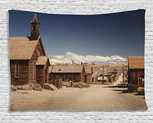 Ambesonne Wanderlust Decor Collection, Old Looking Empty Streets Abandoned Ghost Town Bodie In California, Usa , Bedroom Living Room Dorm Wall Hanging Tapestry, 60W X 40L Inch Ghost Tapestry