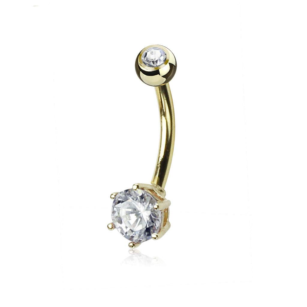 14 Gauge 3/8'' Round 6mm Prong Set CZ 14 Karat Solid Yellow Gold Navel Ring B556 by Blue Palm Jewelry - Belly Rings
