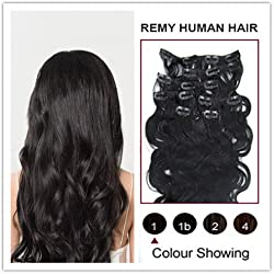 """Soucool 14""""16""""18""""20"""" Remy (Remi) Wavy Clip In/on Human Hair Extensions Jet Black(1)7 Pieces(pcs) [Set Weight:70-80 Grams]"""