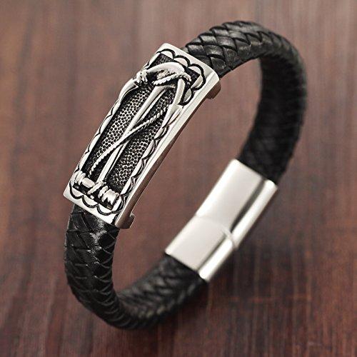Ostan Bijoux Hommes Gothique Cuir Rope en 316L Acier Inoxydable Cuff Bracelet Bangle - Nouveaux Fashion Bijoux Hommes Bracelets, Noir