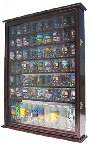 Large 72 Shot Glass Display Case Cabinet Rack Holder-Glass Door, Mirror Back (Cherry Finish)