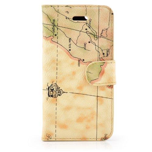 Saxonia Apple iPhone 5C Flip Case Tasche Hülle mit Motiv Weltkarte