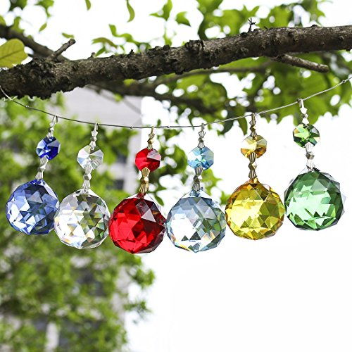 H&D 6pcs 30mm Fengshui Crystal Ball Prisms Chandelier Pendants Lighting Parts with Octagon Beads Bow Tie Connector(set of 6)
