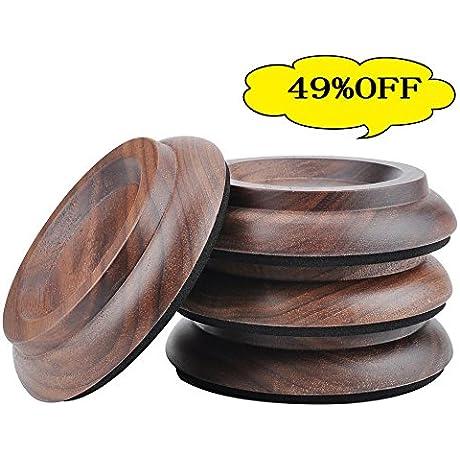 Hardwood Furniture Caster Cups For Beds Desk Piano And Dresser Furniture Legs Caster Cups Black Walnut
