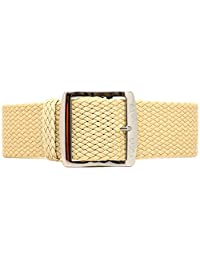 DaLuca Braided Nylon Perlon Watch Strap - Sand (Polished Buckle) : 18mm