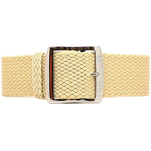 DaLuca Braided Nylon Perlon Watch Strap - Sand (Polished Buckle) : 20mm