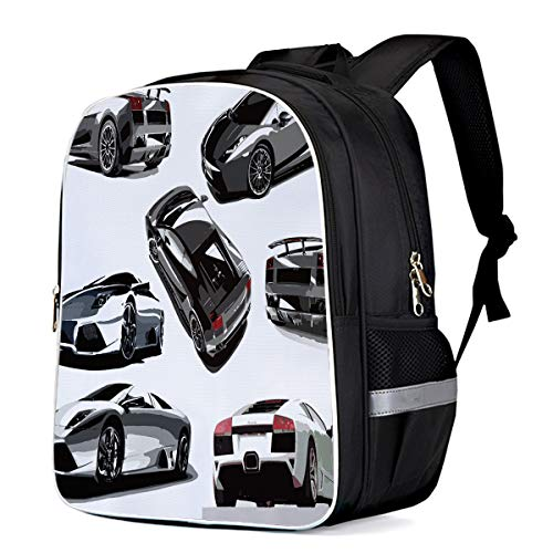Fashion Elementary Student School Bags- Cool Sports Car Pattern Every Boy's Dream, Durable School Backpacks Outdoor Daypack Travel Packback for Kids Boys Girls