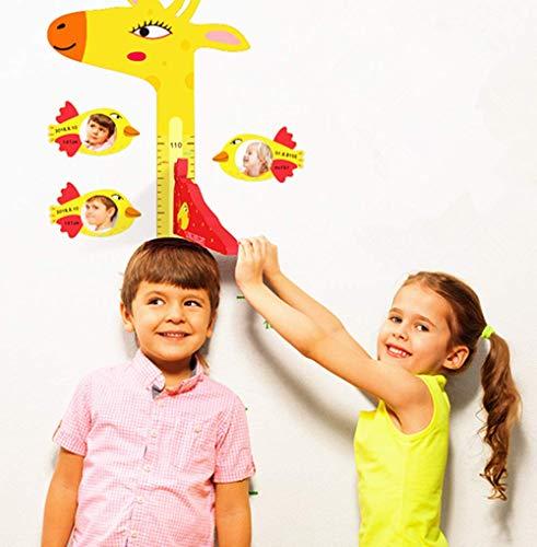 (3D Yellow Giraffe Growth Chart Height Ruler for Boys and Girls 60-180 cm Magnetic Measurement Removable EVA Header Portable Photo Frame Bird Shape 6,Children's Room Kindergarten)