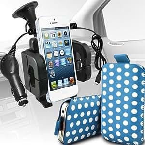 Nokia Lumia 520 Protección Premium Polka PU ficha de extracción Slip In Pouch Pocket Cordón piel cubierta Con Quick 12v Micro USB cargador de coche y soporte universal de la succión del parabrisas del coche Vent Cuna de bebé azul y blanco por Spyrox
