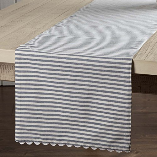 Piper Classics Farmhouse Ticking Stripe Table Runner, Blue, 13x54