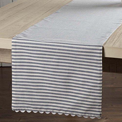 - Piper Classics Farmhouse Ticking Stripe Table Runner, Blue, 13x54