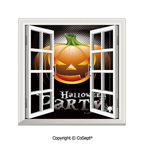 SCOXIXI Removable Wall Sticker,Halloween Party Theme Scary Pumpkin on Abstract Modern Backdrop Spider Decorative,Window Sticker Can Decorate A Room(26.65x20 inch) -